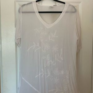 Passage to India White Embroidered Tunic Sz L/XL